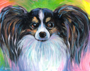 Colorful Drawings - Papillon dog painting by Svetlana Novikova