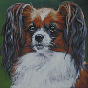 Papillon Dog Paintings - Papillon head study by Lee Ann Shepard