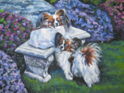 Papillon Dog Paintings - Papillon in the Garden by Lee Ann Shepard