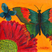 Whimsical Art Painting Prints - Papillon Jaune Print by Debbie McCulley