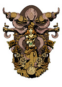 Steampunk Framed Prints - Papillon mecaniques Framed Print by Brian Kesinger