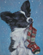 Papillon Dog Paintings - Papillon puppy with xmas stocking by LA Shepard