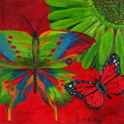 Fun Art Posters - Papillon Rouge Poster by Debbie McCulley