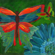 Gerbera Daisy Paintings - Papillon Vert - Green Butterfly by Debbie McCulley
