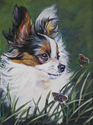 Papillon Dog Paintings - Papillon with butterflies by Lee Ann Shepard