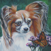 Papillon Dog Paintings - Papillon with monarch by Lee Ann Shepard