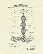 Flight Drawings - Parachute Attachment for Flying Machines 1919 Patent Art by Prior Art Design