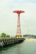 Amusement Park Prints - Parachute Jump At Coney Island, New York Print by Ryan McVay