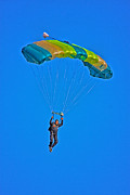 Paratrooper Photo Prints - Parachuting Print by Karol  Livote