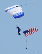 Balloon Fest Framed Prints - Parachutist With American Flag Framed Print by DigiArt Diaries by Vicky Browning