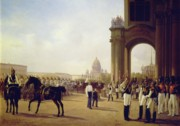 Event Painting Framed Prints - Parade at the Palace Square in Saint Petersburg Framed Print by Adolphe Ladurner