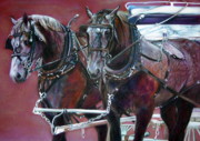 Milwaukee Parade  Pastels Prints - Parade Horses  Print by Leonor Thornton