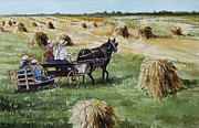 Horse And Buggy Digital Art Prints - Parade of Oats Print by Kelly Morrow