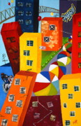 Urban Buildings Prints - Parade The Day After Print by Barbara Teller