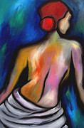 Oil Portrait Drawings - Paradise - Original art nude by Fidostudio by Tom Fedro - Fidostudio