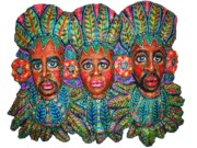 Faces Reliefs Prints - Paradise Print by Anna  Arnold