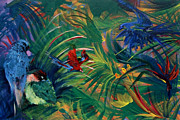 Parrot Print Paintings - Paradise Birds by Jamie Hartley