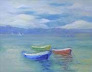 Paradise Island Boats Print by Barbara Anna Knauf