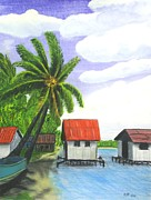 Boat On Beach Paintings - Paradise Lagoon by Ray Ratzlaff