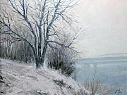 Water Scenes Painting Prints - Paradise Point Bridge Winter Print by Jim Gola