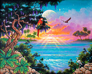 Tropical Paintings - Paradise Waters Edge by Keith Stillwagon