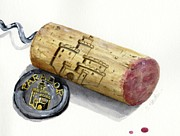 Corkscrew Art Prints - Parador Wine Cork Print by Sheryl Heatherly Hawkins