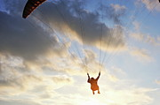 40-44 Years Prints - Paraglider flying at sunset Print by Sami Sarkis