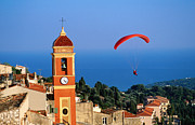 Provence Village Posters - Paraglider Soaring Past Tower Of Colourful Village Church, Alpes-maritimes, Roquebrune, Provence-alpes-cote Dazur, France, Europe Poster by David Tomlinson