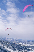Aspen Prints - Paragliders Fly Over Valley Below Aspen Print by Gordon Wiltsie