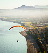 Parachute Posters - Paragliding Off Killiney Hill Poster by David Soanes Photography