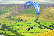 Paragliding Off Mam Tor 01 Print by Rod Johnson