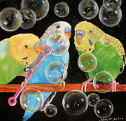 Mary Pastels Posters - Parakeet Bubbles Poster by Mary Hughes