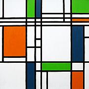 Vivid Orange Paintings - Parallel Lines Composition with Blue Green and Orange in Opposition by Oliver Johnston