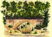 Parapet Prints - Parapet Bridge - Mill Creek Park Print by Michael Vigliotti