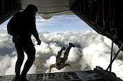 Paratrooper Photo Prints - Pararescuemen Jump Out The Back Print by Stocktrek Images