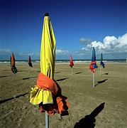 Parasols Framed Prints - Parasols of Deauville Framed Print by Bernard Jaubert