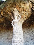 Parc Guell Prints - Parc Guell Stone Statue of Lady With Fruit Basket by Gaudi Barcelona Spain Print by John A Shiron