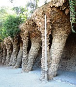 Parc Guell Prints - Parc Guell Tilted Stone Columns by Gaudi Barcelona Spain Print by John A Shiron