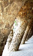 Parc Guell Prints - Parc Guell Tilted Stone Columns II by Gaudi Barcelona Spain Print by John A Shiron