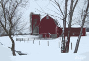 Winter Scene Digital Art Prints - Parcell Barn Print by Cynthia Prado