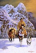 Snow Scene Paintings - Pardners by Howard Dubois