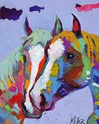 Two Horses Posters - Pardners Poster by Tracy Miller