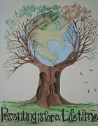 Globes Drawings - Parenting is for a Lifetime by Christina A Pacillo