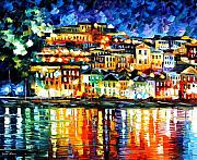  Harbor Paintings - Parga Greece by Leonid Afremov