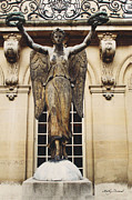 Gothic Angel Prints - Paris - Courtyard Musee Carnavalet Angel Statue  Print by Kathy Fornal