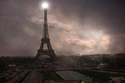 Surreal Paris Decor Photos Prints - Paris - Eiffel Tower - Dreamy Surreal Brown Sepia With Lights Print by Kathy Fornal