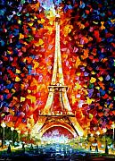 Cityscape Posters - Paris - Eiffel Tower Lighted Poster by Leonid Afremov