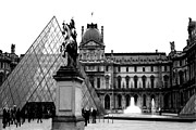 Louvre Museum Framed Prints - Paris - Louvre Museum Pyramid Black and White  Framed Print by Kathy Fornal