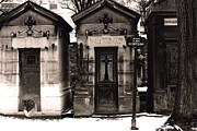 Paris In Sepia Framed Prints - Paris - Pere La Chaise Cemetery Mausoleums Framed Print by Kathy Fornal