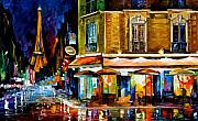 Paris Painting Framed Prints - Paris - Recruitement Cafe Framed Print by Leonid Afremov